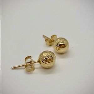 NEW 14k Gold Diamond Cut Ball Stud Earrings